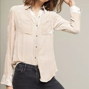 Anthropologie Holding Horses Velvet Blouse Top